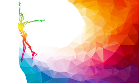 skating on thin ice: Creative silhouette of ice skating girl. Ice show, colorful vector illustration with background or banner template in trendy abstract colorful polygon style and rainbow back