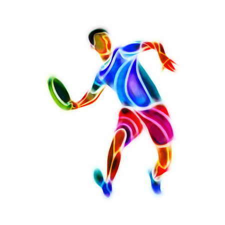 ultimate: Sportsman throwing frying disc. Ultimate sport clipart, color illustration Stock Photo