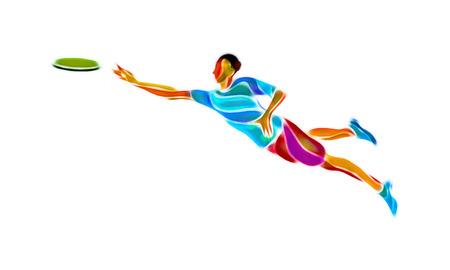 gente adulta: Deportista lanzar disco freír. Clipart deporte Ultimate ilustración en color