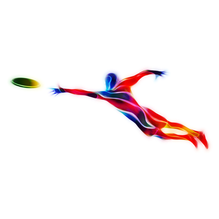 throwing: Sportsman throwing frying disc. Ultimate sport clipart, color illustration Stock Photo