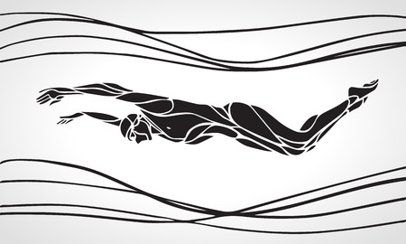 Butterfly Swimmer Black Silhouette. Sport swimming, dolphin kick. Vector Professional Swimming Illustration