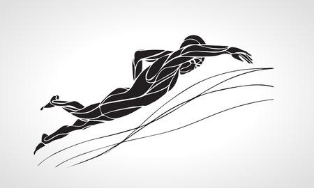 フリー スタイル スイマー ブラック シルエット。スポーツは水泳、クロール。ベクター プロ水泳画像