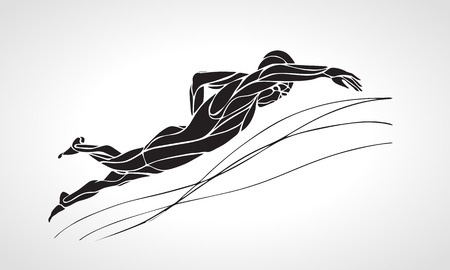 sportsmen: Freestyle Swimmer Black Silhouette. Sport swimming, front crawl. Vector Professional Swimming Illustration
