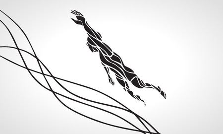 Freestyle Female Swimmer Black Silhouette. Sport swimming, front crawl. Vector Professional Swimming Illustration