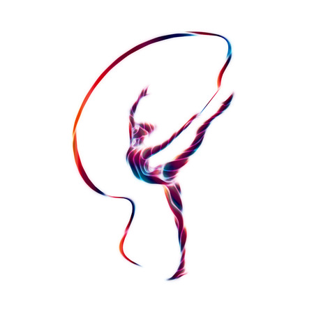 young female: Creative silhouette of gymnastic girl. Art gymnastics with ribbon, illustration or banner template in trendy abstract colorful neon waves style on white background Stock Photo