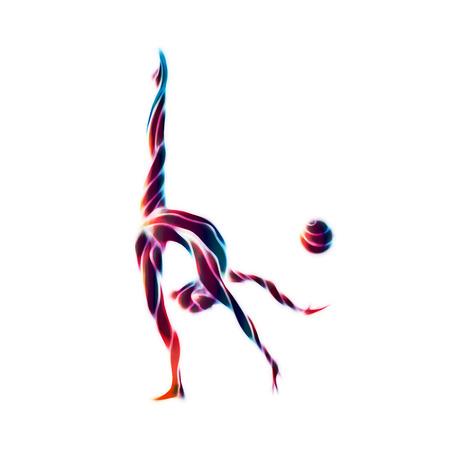 gimnasia: Silueta creativo de niña de gimnasia. Gimnasia de arte con la pelota, ilustración o Modelo de la bandera en el colorido olas de neón estilo abstracto de moda en el fondo blanco Foto de archivo