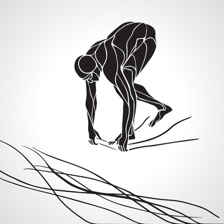 The professional swimmer starts to dive on the competition. Vector black and white silhouette illustration on white background Stock Illustratie