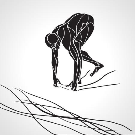 Die professionelle Schwimmer beginnt am Wettbewerb zu tauchen. Vector Schwarz-Weiß-Silhouette-Abbildung auf weißem Hintergrund Vektorgrafik