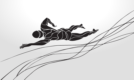 diver: Freestyle Swimmer Black Silhouette. Sport swimming, front crawl. Vector Professional Swimming Illustration
