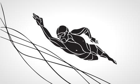 nadar: El nadador de estilo libre de la silueta Negro. deporte de la natación, estilo crol. Vector profesional de la natación Ilustración Vectores