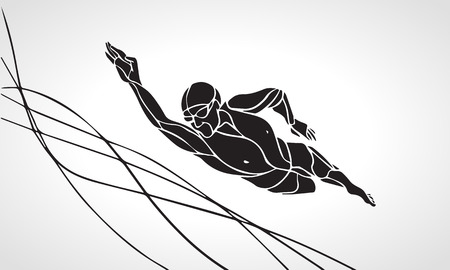 swimming race: Freestyle Swimmer Black Silhouette. Sport swimming, front crawl. Vector Professional Swimming Illustration