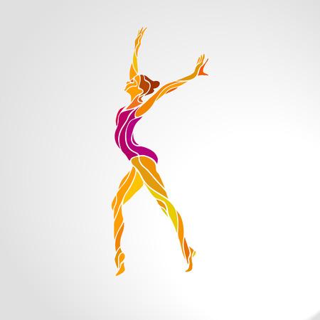 Silhouette creativa di ragazza ginnastica. Ginnastica artistica, illustrazione vettoriale a colori