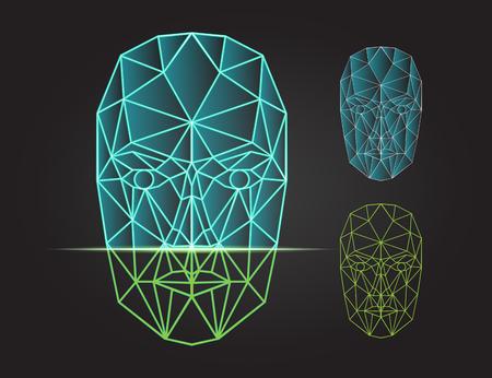 volti: Face Recognition - sistema di sicurezza biometrico. scansione fronte, vista frontale della testa umana. illustrazione di vettore