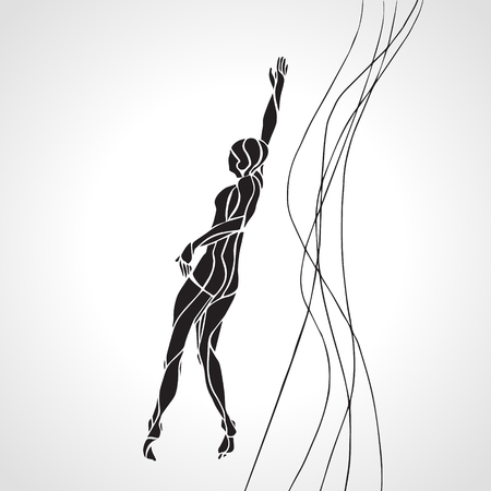 freestyle: Freestyle Female Swimmer Black Silhouette. Sport swimming, front crawl. Vector Professional Swimming Illustration