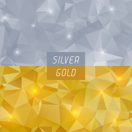 gold silver: Abstract silver and gold polygonal triangular geometric background. Vector eps8