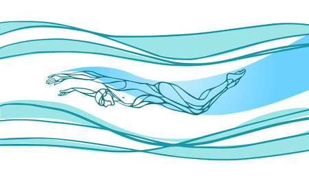 Mariposa Nadador Silueta color. Natación Deporte, patada de delfín. Vector Profesional Natación Ilustración