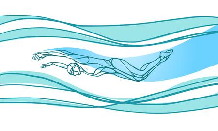 Schmetterling Schwimmer Farbe Silhouette. Sport Schwimmen, Delphin Kick. Vektor-Berufsschwimmen Illustration