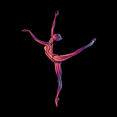 Creative silhouette of gymnastic girl. Art gymnastics woman, illustration or banner template in trendy abstract colorful neon waves style on black background Ilustracja