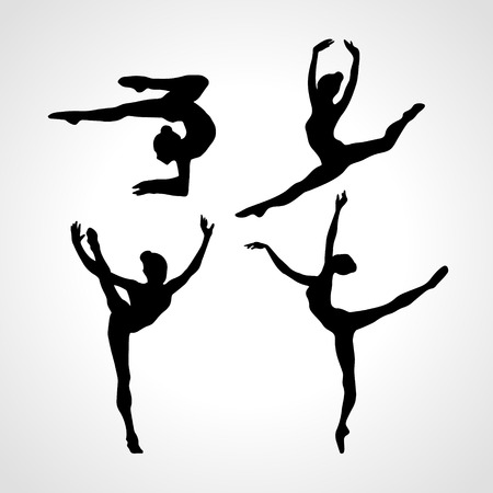 Collection 4 Creative silhouettes of gymnastic girls. Art gymnastics set, black and white vector illustration Vectores