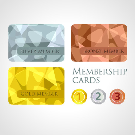 Gold, silver and bronze membership cards or backgrounds and medals set in polygonal style. Gift, voucher, certificate template, vector illustration