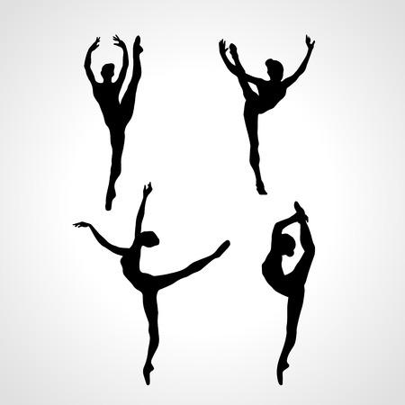 Творческие силуэты 4 гимнастических девушка. Художественная гимнастика или балет танцы женщины, черно-белые векторные иллюстрации