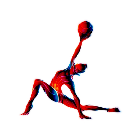 gymnastics: Creative silhouette of gymnastic girl. Art gymnastics with ball, illustration or banner template in trendy abstract colorful neon waves style