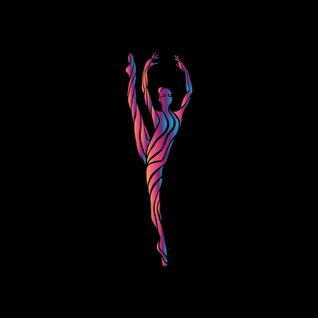 Creative silhouette of gymnastic girl. Art gymnastics woman, vector illustration or banner template in trendy abstract colorful neon waves style on black background Ilustracja