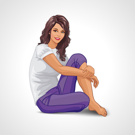 Cartoon smiling brunette girl sitting frontal on the floor and looking at you