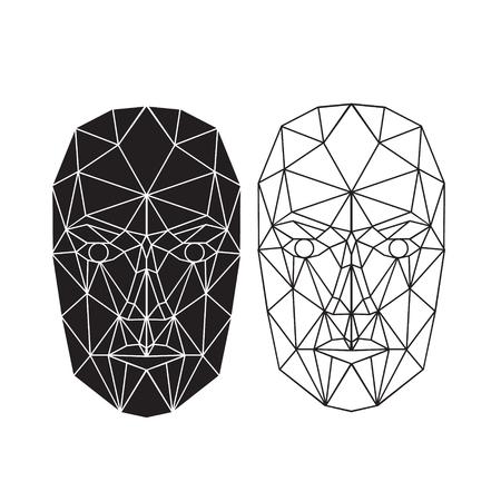 caras: Triángulo abstracto de la cara humana, vista frontal. Ilustración del vector. Concepto de reconocimiento facial 3D. ilustración vectorial