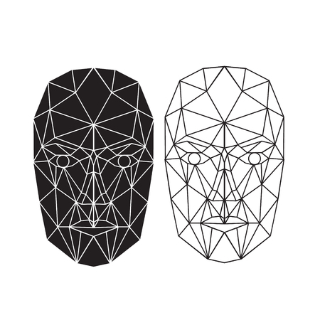 Triangle abstract human face, front view. Vector illustration. Concept of 3d Face recognition. Vector illustration
