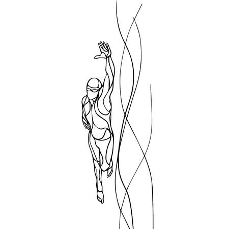 Freestyle-Schwimmer Schwarz Silhouette. Sport Schwimmen, Kraulen. Vektor-Berufsschwimmen Illustration Vektorgrafik