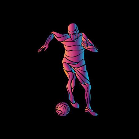 kicks: Football or Soccer player kicks the ball. The colorful vector illustration on black background. Illustration