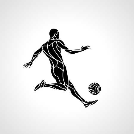 kick ball: Soccer or football player kicks the ball. Abstract vector silhouette. Illustration on white background.