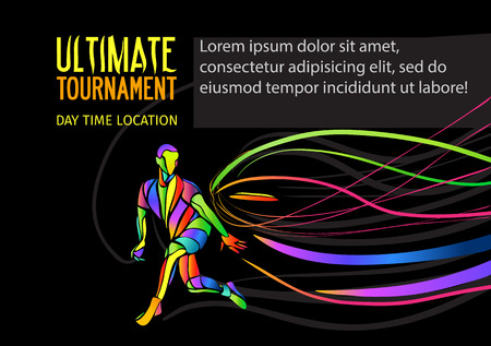 ultimate: Ultimate sport, flying disc invitation poster or flyer background with empty space, banner template Illustration
