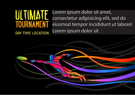 Ultimate sport, flying disc invitation poster or flyer background with empty space, banner template Illustration