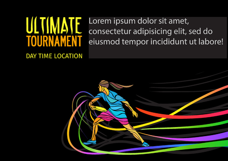 Ultimate sport, flying disc invitation poster or flyer background with female sportsman and empty space, banner template