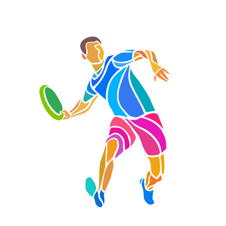 Sportsman throwing frisbe. Ultimate sport clipart, vector  color illustration Çizim