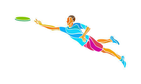 throwing: Sportsman throwing frisbe. Ultimate sport clipart, vector  color illustration Illustration