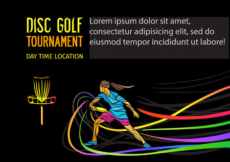 Disc golf sport, flying disc invitation poster or flyer background with female sportsman and empty space, vector banner template Illustration