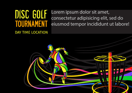 Disc golf sport, flying disc invitation poster or flyer background with sportsman silhouette and empty space, vector banner template
