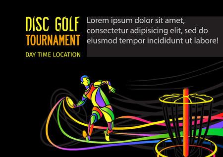 Disc-Golf Sport, fliegen disc Einladungsplakat oder Flyer Hintergrund mit Sportler Silhouette und leeren Raum, Vektor-Banner-Vorlage