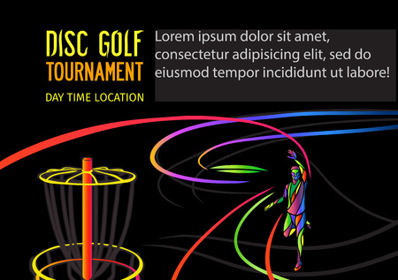 disc golf: Disc golf sport, flying disc invitation poster or flyer background with sportsman silhouette and empty space, vector banner template