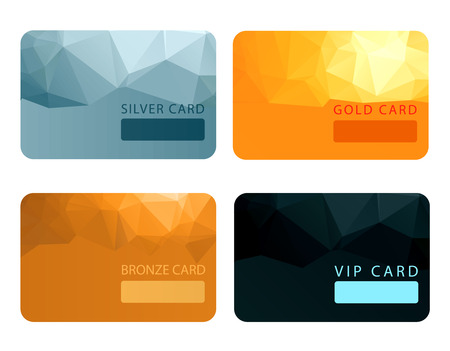 gold silver bronze: Gold, silver, bronze, VIP premium member cards in polygonal style. Gift, voucher or certificate, vector illustration Illustration