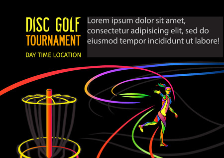 disc golf: Disc golf sport, flying disc Frolf invitation poster or flyer background with female sportsman silhouette and empty space, horisontal align vector banner template Illustration