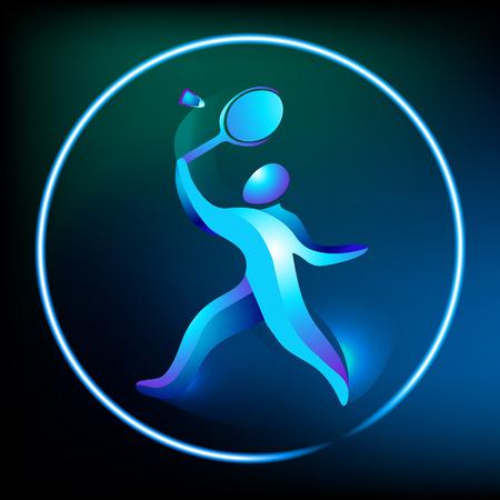 badminton racket: Badminton logo. Logo for the game in badminton sports. Abstract professional badminton player. Silhouette of a badminton player, vector illustration Illustration