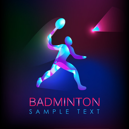 Badminton logo. Logo for the game in badminton sports. Abstract professional badminton player. Silhouette of a badminton player, vector illustration Çizim