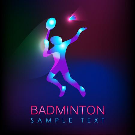badminton sport symbol: Badminton logo. Logo for the game in badminton sports. Abstract professional badminton player. Silhouette of a badminton player, vector illustration Illustration