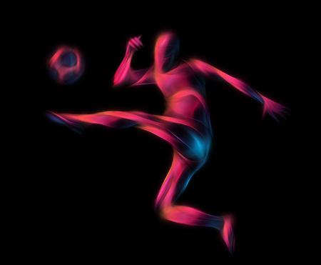 kicks: Football or Soccer player kicks the ball. The colorful neon illustration on black background. Stock Photo