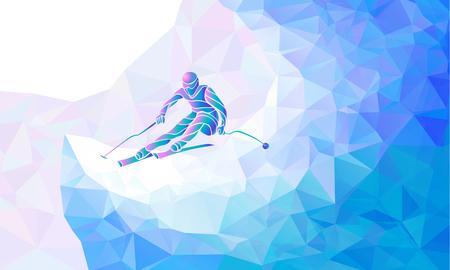 ダウンヒル スキーします。スキーヤーの創造的なシルエット。ジャイアント スラローム スキー レーサー。ベクトル図  イラスト・ベクター素材
