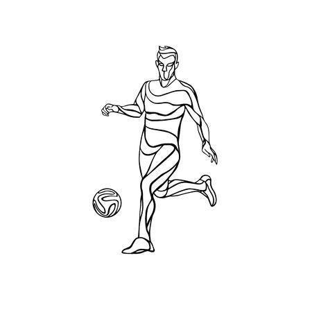 kicks: Soccer or football player kicks the ball. Abstract line art vector silhouette. Illustration on white background.